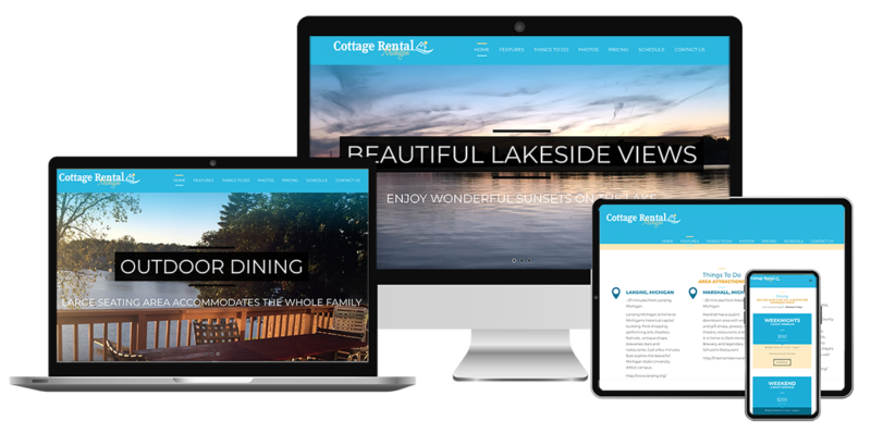 Responsive website samples of cottage rental Michigan accommodations